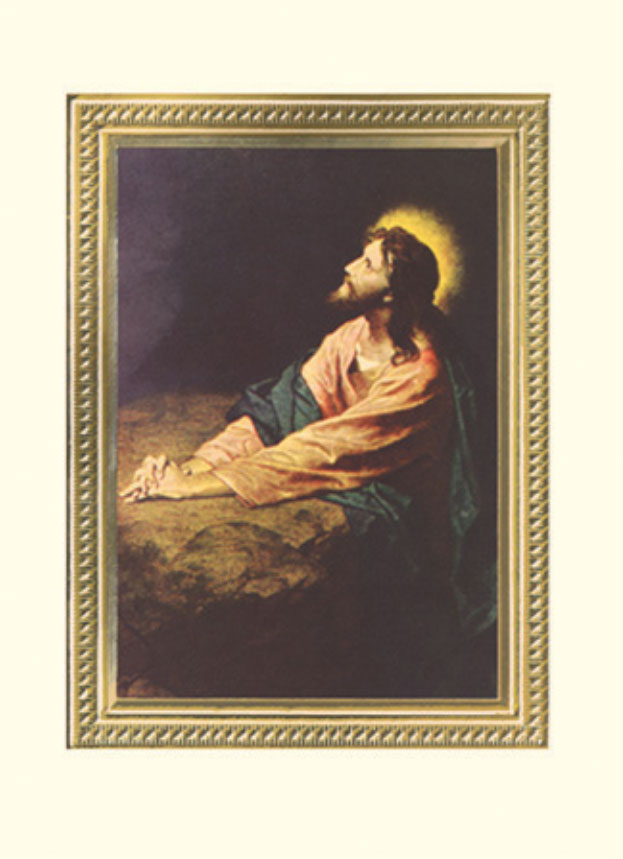 "Jesus in the Garden, Mass card for the deceased, cover and inside, 6.125"" x 4.25"""