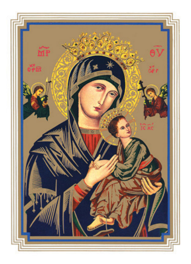 "Our Lady of Perpetual Help, Mass card for the deceased, cover and inside, 6.75""x 4.87"""