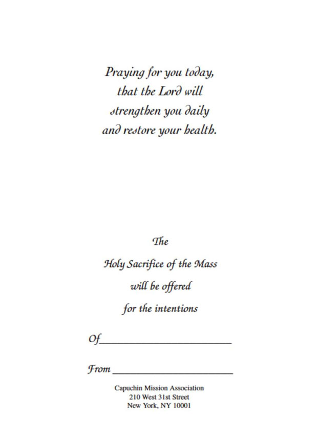 "A Healing Prayer, Mass card for the sick, cover and inside, 4.87"" x 6.75"""