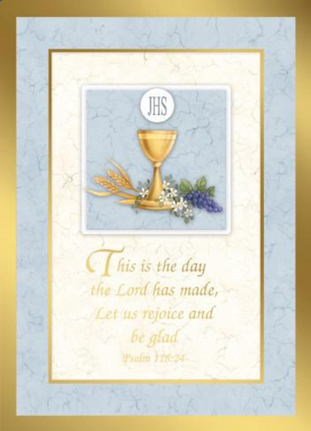 "Psalm 118:24, Mass card for special intention, cover and inside, 6.75""x 4.87"""